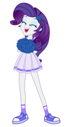 Size: 1800x3500 | Tagged: safe, alternate version, artist:mixiepie, rarity, equestria girls, cheerleader, clothes, eyes closed, female, open mouth, paint tool sai, pleated skirt, pom pom, school spirit, shoes, simple background, skirt, sneakers, socks, solo, transparent background, vector