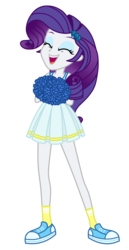 Size: 1800x3500   Tagged: safe, artist:mixiepie, rarity, equestria girls, canterlot high, cheerleader, clothes, eyes closed, female, open mouth, paint tool sai, pom pom, school spirit, shoes, simple background, sneakers, socks, solo, transparent background, vector, wondercolts
