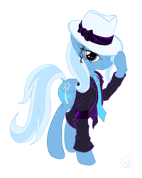 Size: 2304x2880 | Tagged: safe, artist:ciaran, derpibooru exclusive, trixie, pony, unicorn, clothes, coat, fedora, female, flat colors, grin, hat, hoof hold, lidded eyes, looking at you, mare, michael jackson, necktie, simple background, smirk, smooth criminal, solo, transparent background
