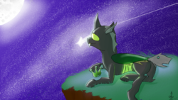 Size: 2560x1440 | Tagged: safe, artist:icarys, oc, oc only, oc:icarys, changeling, drawn on phone, green changeling, male, moon, night, resting, solo