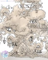 Size: 2409x3020 | Tagged: safe, artist:kgxspace, golden oaks library, monochrome, no pony