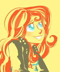 Size: 500x600 | Tagged: safe, artist:puffpink, sunset shimmer, equestria girls, beautiful, cute, shimmerbetes, simple background, smiling, solo, when she smiles