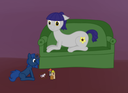 Size: 1795x1296   Tagged: safe, artist:anonpony1, oc, oc only, oc:fruity blossom, oc:starlight blossom, couch, doll, female, filly, magic, mother, mother and daughter, playing, toy