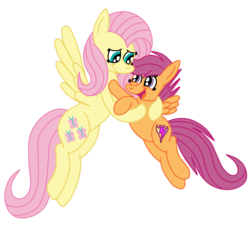 Size: 1936x1768 | Tagged: alternate cutie mark, artist:squipycheetah, crusaders of the lost mark, cute, cutealoo, cutie mark, duo, female, filly, floating, fluttershy, flying, happy, hug, looking down, looking up, mare, open mouth, pegasus, pony, raised hoof, safe, scootaloo, scootalove, scootashy, shyabetes, simple background, sisters, small wings, smiling, spread wings, the cmc's cutie marks, transparent background, vector