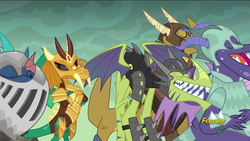 Size: 1920x1080 | Tagged: safe, screencap, amarant, princess ember, prominence, scalio, snake (dragon), thod, vex, dragon, gauntlet of fire, armor, background dragon, discovery family logo, dragon armor, teenaged dragon, the happiest of dragons