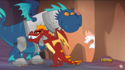 Size: 1366x768 | Tagged: safe, artist:changeling #209458, edit, edited screencap, screencap, fizzle, garble, scalio, thod, dragon, gauntlet of fire, armor, discovery family logo, dragon armor, frown, garble's hugs, glare, gritted teeth, hug, jealous, the happiest of dragons, wide eyes