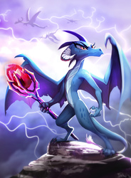 Size: 1593x2169   Tagged: safe, artist:imalou, princess ember, dragon, gauntlet of fire, badass, bloodstone scepter, claws, cloud, dragon lord ember, dragoness, epic, female, frown, glare, horns, lightning, long nails, majestic, metal as fuck, queen, solo, spread wings, that was fast, weapon, wings