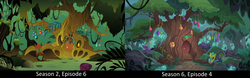 Size: 2550x792 | Tagged: safe, screencap, zecora, on your marks, the cutie pox, comparison, everfree forest, mask, zecora's hut