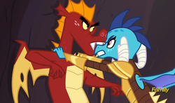 Size: 783x461 | Tagged: discovery family logo, dragon, dragon armor, garble, gauntlet of fire, princess ember, safe, screencap