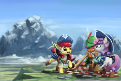 Size: 1634x1089 | Tagged: safe, artist:bakuel, apple bloom, scootaloo, sweetie belle, on your marks, adorabloom, alphorn, clothes, cow belle, cute, cutealoo, cutie mark crusaders, dancing, diasweetes, group, lederhosen, mountain, musical instrument, open mouth, picnic, scene interpretation, square dance, the cmc's cutie marks, trio, yodeloo