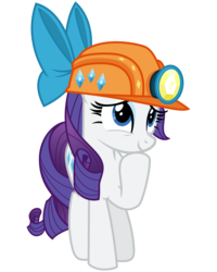 Size: 2400x3000 | Tagged: safe, artist:cheezedoodle96, rarity, pony, gauntlet of fire, .svg available, cute, female, helmet, hoof on chin, inkscape, looking up, mare, mining helmet, raribetes, simple background, smiling, solo, svg, transparent background, vector