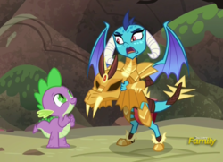 Size: 950x689 | Tagged: discovery family logo, dragon, dragon armor, gauntlet of fire, princess ember, safe, screencap, spike, weapons-grade cute