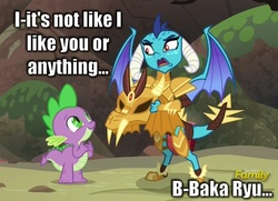 Size: 950x689 | Tagged: armor, caption, discovery family logo, dragon, dragon armor, edit, emberspike, female, gauntlet of fire, male, meme, princess ember, safe, screencap, shipping, spike, straight, text, tsundember, tsundere
