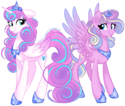 Size: 1260x1071 | Tagged: safe, artist:frostykat13, princess flurry heart, princess skyla, crystal sisters, older, regalia, simple background, sisters, story in the comments