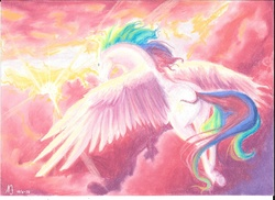 Size: 3507x2550 | Tagged: safe, artist:linkenparklove, princess celestia, crepuscular rays, female, flying, magic, plot, realistic, solo, sunrise, traditional art