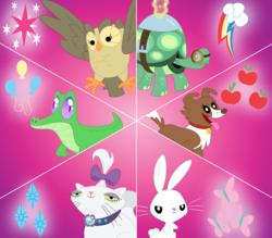 Size: 3483x3049 | Tagged: safe, artist:porygon2z, angel bunny, gummy, opalescence, owlowiscious, tank, winona, pet six, wallpaper