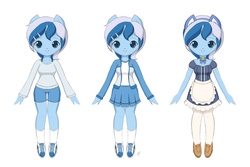 Size: 1800x1200 | Tagged: safe, artist:jdan-s, minuette, anthro, animal ears, bell, bell collar, bow, cat bell, cat ears, clothes, collar, female, jacket, maid, pantyhose, pleated skirt, shoes, shorts, skirt, sneakers, socks, solo, sweater, waitress