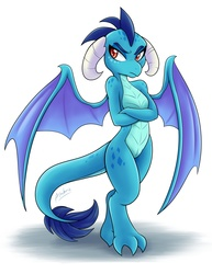 Size: 1275x1650   Tagged: safe, artist:ambris, princess ember, dragon, gauntlet of fire, colored pupils, crossed arms, dragon horns, dragoness, female, horns, looking at you, multiple variants, shadow, signature, simple background, solo, spread wings, white background, wings