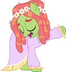 Size: 3169x3449   Tagged: safe, artist:cloudyglow, tree hugger, earth pony, pony, make new friends but keep discord, .ai available, clothes, dress, eyes closed, female, gala dress, hippie horse noises, horse noises, mare, meme, open mouth, raised hoof, simple background, solo, transparent background, vector, wavy mouth