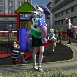 Size: 2000x2000 | Tagged: safe, artist:tahublade7, cheerilee, diamond tiara, dinky hooves, pipsqueak, rarity, snails, snips, sweetie belle, anthro, plantigrade anthro, 3d, carrying, clothes, comforting, daz studio, feet, high heels, hug, leggings, mama rarity, marionette, playground, sad, sandals, seesaw, shirt, sisters, skirt, slide, socks, striped socks, when you see it