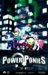 Size: 1080x1680 | Tagged: safe, artist:powdan, applejack, fili-second, fluttershy, mane-iac, masked matter-horn, mistress marevelous, pinkie pie, radiance, rainbow dash, rarity, saddle rager, twilight sparkle, zapp, alicorn, power ponies (episode), 3d, gmod, mane six, movie poster, power ponies, twilight sparkle (alicorn)