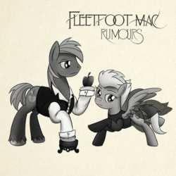 Size: 894x894 | Tagged: safe, artist:buckweiser, big macintosh, fleetfoot, earth pony, pegasus, pony, album cover, apple, classic rock ponies, female, fleetmac, fleetwood mac, food, male, mare, music, parody, ponified, ponified album cover, pun, retro, rumours, shipping, shipping fuel, stallion, straight