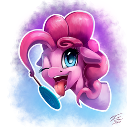 Size: 700x700 | Tagged: safe, artist:tsitra360, pinkie pie, earth pony, pony, candy, drool, drool string, female, food, licking, lollipop, mare, one eye closed, open mouth, solo, tongue out, wink