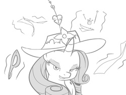 Size: 800x600   Tagged: safe, artist:vulapa, rarity, bedroom eyes, cute, cyoa, cyoa:life in ponyville, fabric, glasses, glasses off, grayscale, grin, hat, levitation, lip bite, magic, monochrome, pins, story included, telekinesis