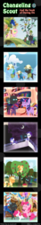 Size: 600x3263 | Tagged: safe, artist:vavacung, applejack, daring do, fluttershy, pinkie pie, princess luna, rainbow dash, rarity, twilight sparkle, oc, changeling, comic:changeling-scout, cloudsdale, comic, cruise, dream, dream walker luna, mane six, next generation, party, pointy ponies, scout gets all the mares, sweet apple acres