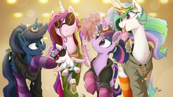 Size: 4000x2250 | Tagged: safe, artist:aquaticsun, artist:ncmares, princess cadance, princess celestia, princess flurry heart, princess luna, twilight sparkle, alicorn, pony, ask majesty incarnate, alicorn pentarchy, aunt and niece, auntie luna, auntie twilight, babscon, clothes, collaboration, donut, female, food, group, hoodie, ice cream, levitation, licking, magic, mama cadence, mother and daughter, open mouth, parody, plushie, print, raised hoof, royal sisters, signature, sisters-in-law, socks, striped socks, sunglasses, telekinesis, the hangover, the uses of unicorn horns, tongue out, toy, twilight sparkle (alicorn)