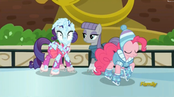 Size: 2497x1393   Tagged: safe, screencap, maud pie, pinkie pie, rarity, the gift of the maud pie, discovery family logo, ice, ice rink, ice skates, ice skating