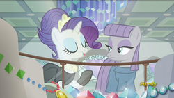 Size: 1920x1080 | Tagged: safe, screencap, maud pie, pinkie pie, rarity, earth pony, pony, unicorn, the gift of the maud pie, alternate hairstyle, audrey hepburn, breakfast at tiffany's, clothes, discovery family logo, female, holly golightly, jewelry, manehattan, mare