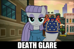 Size: 1273x851 | Tagged: safe, edit, edited screencap, screencap, carrot top, golden harvest, lyra heartstrings, maud pie, earth pony, pony, unicorn, the gift of the maud pie, background pony, caption, discovery family logo, female, mare, maud being maud, pouch, rock pouch, stare, text, the fire in her eyes, tranquil fury