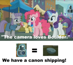 Size: 1596x1402 | Tagged: bouldcam, boulder (pet), camera, cargo ship, crack shipping, earth pony, edit, edited screencap, female, image macro, mare, maud pie, meme, pinkie pie, pony, pun, rarity, safe, screencap, shipping, the gift of the maud pie, unicorn