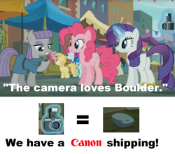 Size: 683x600 | Tagged: bouldcam, boulder (pet), camera, canon, cargo ship, crack shipping, earth pony, edit, edited screencap, female, image macro, mare, maud pie, meme, pinkie pie, pony, pun, rarity, safe, screencap, shipping, the gift of the maud pie, unicorn