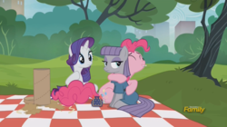 Size: 1092x612 | Tagged: safe, screencap, maud pie, pinkie pie, rarity, earth pony, pony, unicorn, the gift of the maud pie, blanket, discovery family logo, female, hug, mare, maud being maud, picnic blanket, pouch, rock pouch, trio