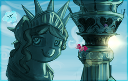 Size: 2509x1597 | Tagged: safe, artist:segraece, pinkie pie, rarity, the gift of the maud pie, dialogue, emoticon, face, fanart, liberty, little, manehattan, statue of friendship