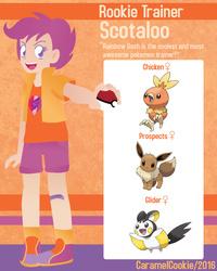 Size: 640x800 | Tagged: safe, artist:caramelcookie, scootaloo, eevee, emolga, human, torchic, crossover, cutie mark, humanized, pokéball, pokémon, pokémon team, pokémon trainer, scootachicken, the cmc's cutie marks