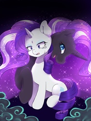 Size: 900x1200 | Tagged: safe, artist:ayahana, nightmare rarity, rarity, crying, duality, smiling, sweat