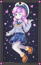 Size: 1600x2500 | Tagged: safe, artist:pika-chany, sweetie belle, equestria girls, on your marks, beautiful, boots, clothes, cow belle, cowboy boots, cowboy hat, cowgirl, cute, dancing, diasweetes, hat, heart, looking at you, shoes, skirt, smiling, solo, sparkles, square dance, stetson, wink