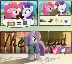Size: 1920x1700 | Tagged: safe, artist:scootiebloom, maud pie, pinkie pie, rarity, earth pony, pony, unicorn, the gift of the maud pie, alternate ending, comic, good end, logic, manehattan, pointy ponies, rock pouch