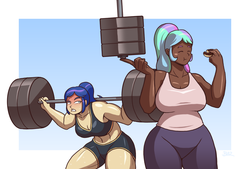 Size: 1331x900 | Tagged: safe, artist:blazbaros, princess celestia, princess luna, human, :t, abs, angry, au:eqcl, barbell, big breasts, breasts, buff, busty princess celestia, clothes, commission, compression shorts, curvy, dark skin, donut, eating, eyes closed, female, food, funny, glare, gritted teeth, gym uniform, huge breasts, humanized, light skin, midriff, muscles, plump, ponytail, princess muscle moona, royal sisters, simple background, smiling, strong fat, super strength, sweat, tanktop, vest, weight lifting, weights, wide hips, workout, workout outfit, yoga pants