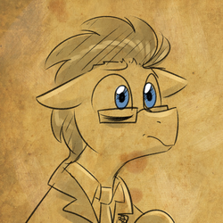 Size: 750x750   Tagged: safe, artist:craftykraken, doctor whooves, time turner, pony, male, monochrome, solo, stallion