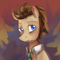 Size: 750x750   Tagged: safe, artist:craftykraken, doctor whooves, time turner, pony, male, solo, stallion
