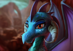 Size: 4000x2800 | Tagged: safe, artist:starblaze25, princess ember, dragon, gauntlet of fire, beautiful, bedroom eyes, bust, detailed, dragoness, eyeshadow, female, makeup, portrait, realistic, solo, technically advanced