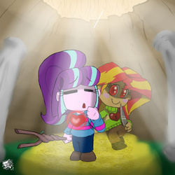 Size: 800x800 | Tagged: safe, artist:sanyo2100, starlight glimmer, sunset shimmer, equestria girls, chara, charaset, counterparts, crossover, frisk, knife, spoilers for another series, stick, twilight's counterparts, undertale, undertale spoilers