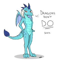Size: 1100x1200 | Tagged: safe, artist:creature71, princess ember, dragon, belly button, blatant lies, bronybait, dialogue, female, lies, looking at you, sexy, solo, tsundember, tsundere