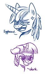 Size: 850x1400 | Tagged: safe, artist:zoruanna, shining armor, twilight sparkle, angry, brother and sister, cross-popping veins, dialogue, dork, egghead, female, insult, irritated, male, open mouth, sibling rivalry, siblings