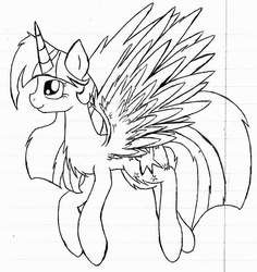 Size: 1024x1086 | Tagged: safe, artist:mufflinka, twilight sparkle, alicorn, pony, chest fluff, female, grayscale, lined paper, mare, monochrome, solo, traditional art, twilight sparkle (alicorn)