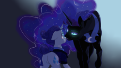 Size: 1920x1080 | Tagged: safe, artist:kianamai, nightmare moon, rarity, alicorn, pony, unicorn, :t, alternate timeline, bedroom eyes, clothes, cute, eye contact, female, floppy ears, glowing eyes, grin, lesbian, looking at each other, mare, missing accessory, night maid rarity, nightmare takeover timeline, nightrarity, plot, scrunchy face, shipping, smiling, wallpaper, wide eyes